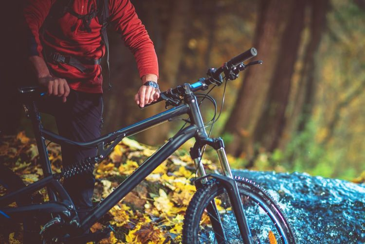 Midsection of man with bicycle in forest