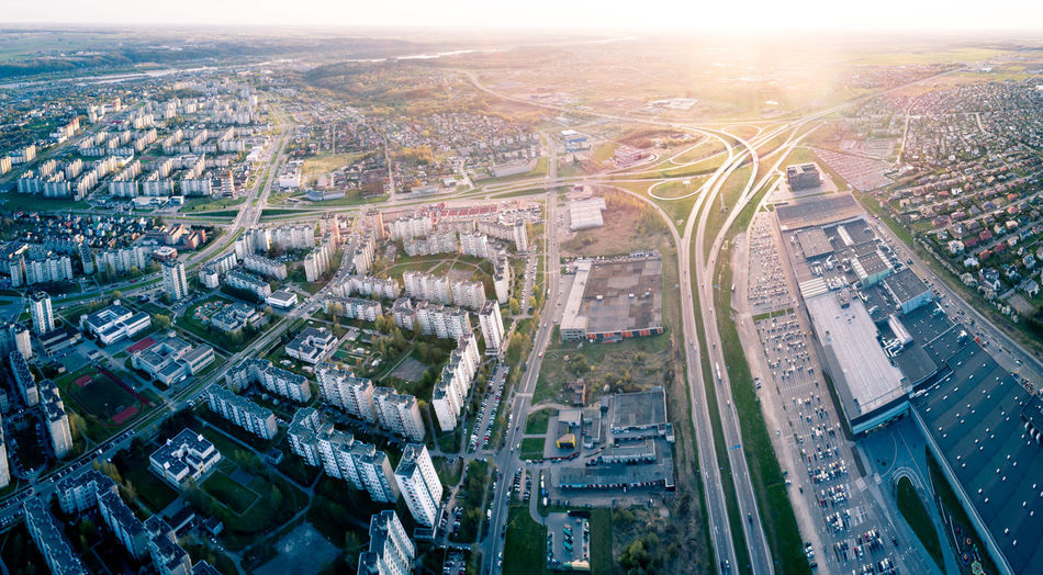 Kaunas City Aerial Panorama Road Street Highway Freeway Architecture Panoramic Aerial Aerial Photography City Cityscape Sky Kaunas Lithuania Lietuva Drone  Dawn Sunset Sunrise Cityscape City Illuminated Aerial View Business Finance And Industry Road Panoramic High Angle View Sky Architecture Urban Sprawl District