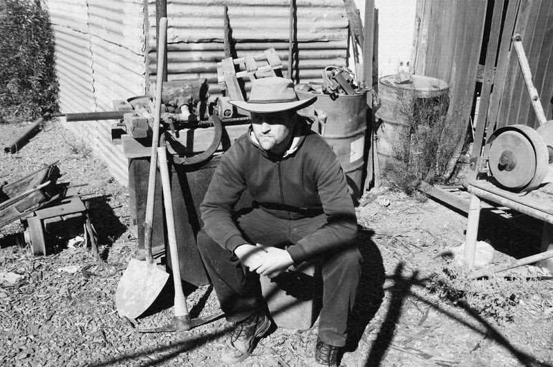 Gold Prospector Resting (Grain Texture) Geologist Gold B&w Mining Pickaxe Prospector Sitting