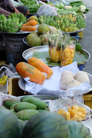 Fruits in street market, Rayong Province Fruits Fruit Freshness Water Melon Papaya Banana Pineapple Street Market Street Food Thailand Rayong Rayong,Thailand Market Traditional Lifestyles Green Food