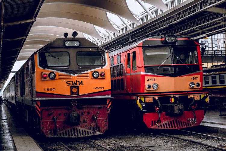Mode Of Transportation No People Rail Transportation Red Train Train - Vehicle Transportation Travel