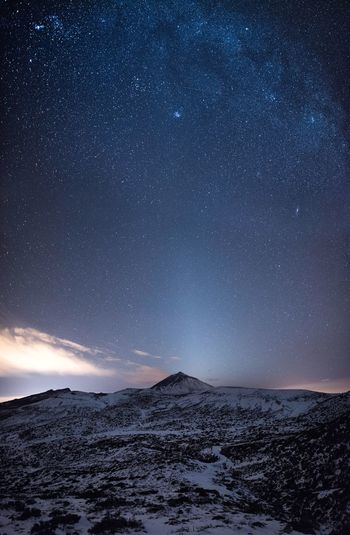 Zodiac Light in Teide National Park Star - Space Night Astronomy Milky Way Galaxy Constellation Snow Landscape Nature Space Star Field Long Exposure Sky Beauty In Nature Outdoors Scenics Mountain Cold Temperature Winter