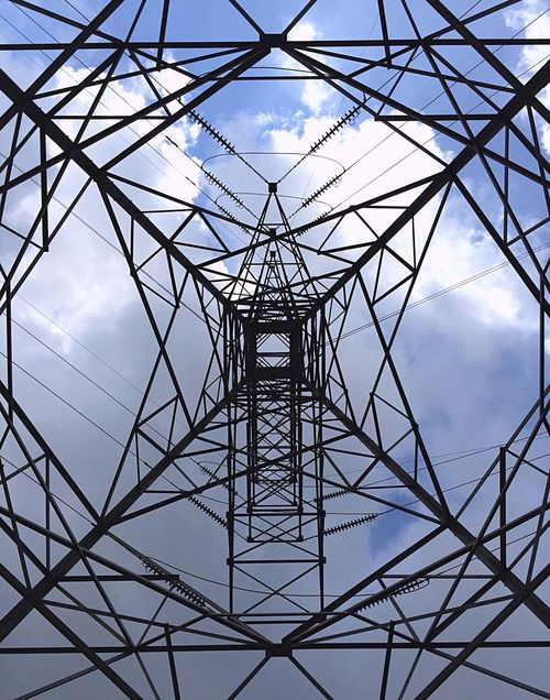 Showcase: November Learn & Shoot: Simplicity Clouds And Sky Geometric Shapes Tower Electric Eye4photography  EyeEm Best Shots PhonePhotography IPhoneography Patern Steel Tower  High Voltage Steel Structure  Perspective Perspectives Pattern, Texture, Shape And Form