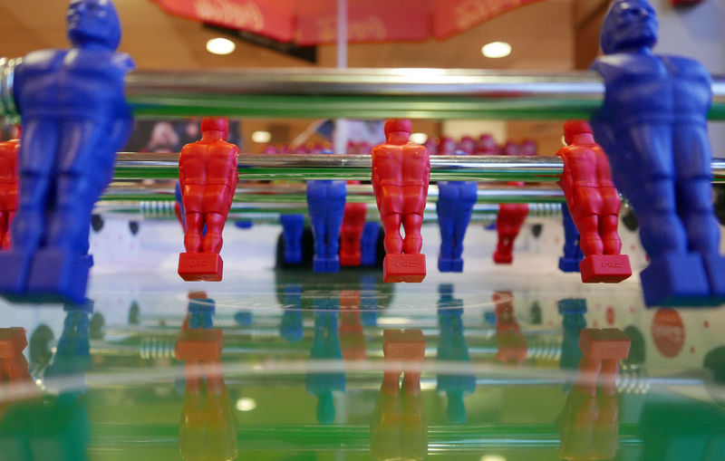 Babyfoot Cafeteria Close-up Colorful Focus On Foreground Football Game In A Row Lifestyles Multi Colored Red Selective Focus Side By Side Socker Strategy