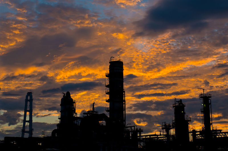 Sky Built Structure Architecture Building Exterior Orange Color Cloud - Sky Industry Factory Smoke Stack Fuel And Power Generation No People Silhouette Industrial Building  Outdoors Tall - High Building Environmental Issues Tower Industrial Equipment Sunrise Morning Sky Japan Japan Photography Silhouette Morning