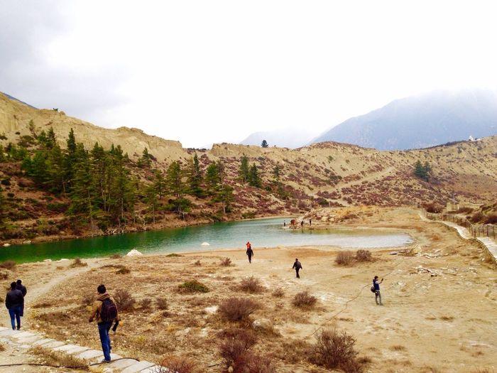 Tourists on mountain