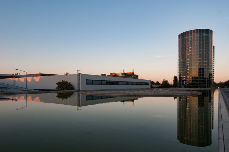 Architecture Architecture Autostadt Blue Blue Hour Built Structure Calm Clear Sky EyeEm Eyeemphotography Industrial Industrial Photography Mirror Reflection Mirror Reflections Modern No People Outdoors Reflection Sky Standing Water Volkswagen Water