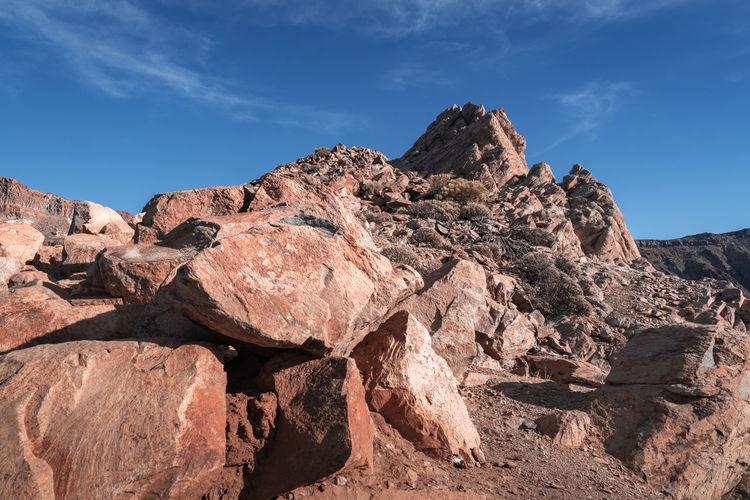Rocks on rock formation against sky