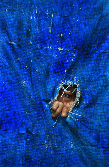 Blue Child Close-up Hiding Human Body Part One Eye One Person Peeping Peeping Hole Shyness