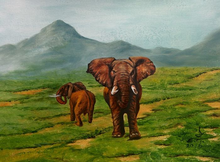 "African Elephant a true treasure and a grate gift to us so cherish it and enjoy having it because if life matters to us it matters to all living existing creatures . Oil on canvas 18""_24"", Wildlife & Nature African Elephant Animals Animals In The Wild Treasure My Best Friends ❤ Fredom Fine Art Drawing Oil Painting Art, Drawing, Creativity ArtWork My Art Colllection Tranquility Friendship. ♡   Love ♥ Koi. ."