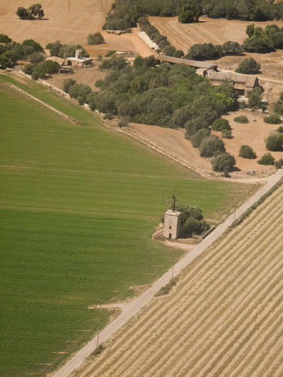 High Angle View Of Agricultural Landscape