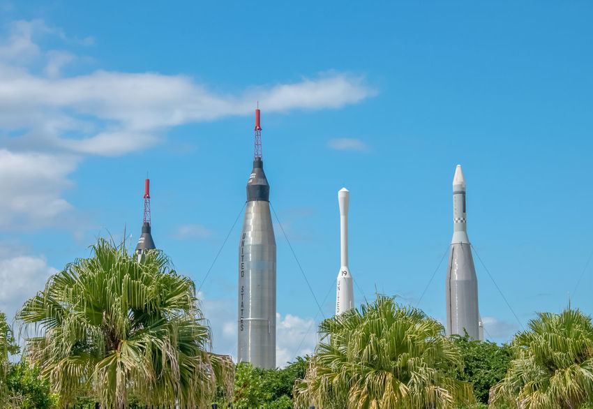 Cape Canaveral Missile Rockets USA America Architecture Blue Built Structure Cloud - Sky Day Factory Growth Industry Low Angle View Missiles Nature No People Outdoors Palm Tree Sky Tree