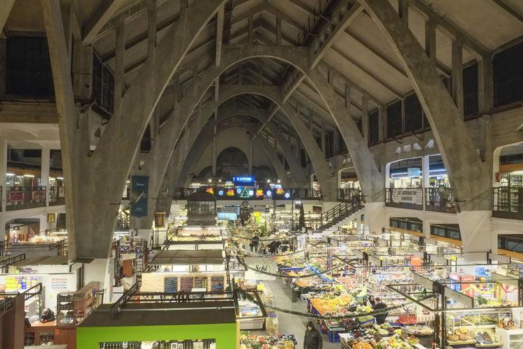 Interior of illuminated market