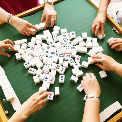 EyeEmNewHere Home Mahjong Mahjong Tiles Mahjong Session Chinese New Year Lunar New Year Hands Women Game Green Gambling