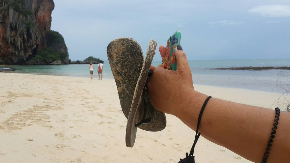 Railay Beach Selfie On The Beach Sefietime Shoes Hand Lady Hands  Take Photos Sand & Sea Sand Sea Happy Time Holiday