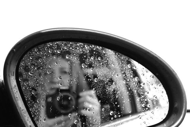 Close-up One Person People Raindrops Reflection Selfie Vehicle Mirror