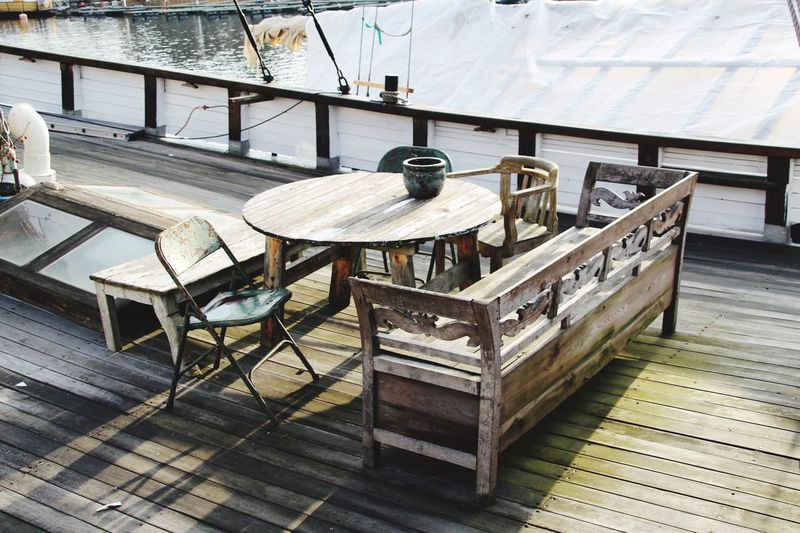 High angle view of furniture on boat deck