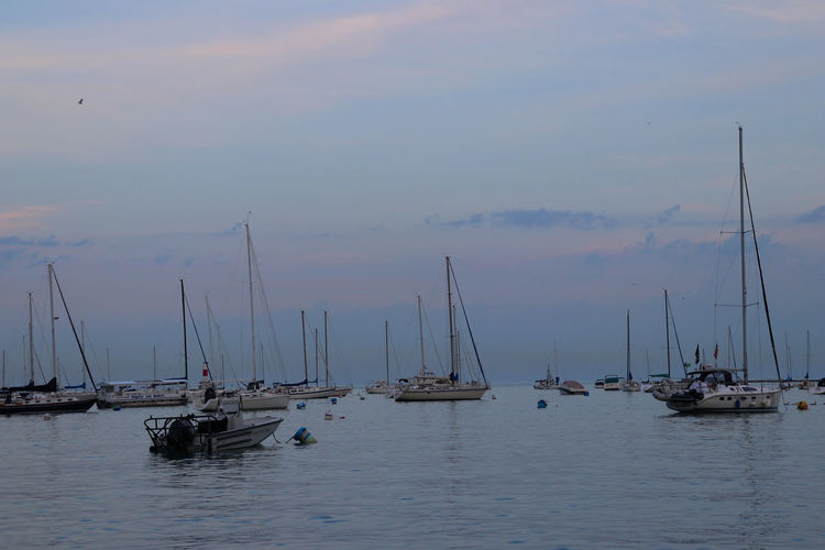Lake Michigan Chicago City Water Front  Beauty In Nature Cloud - Sky Lake Nature Outdoors Sailboat Sunset Water Waterfront