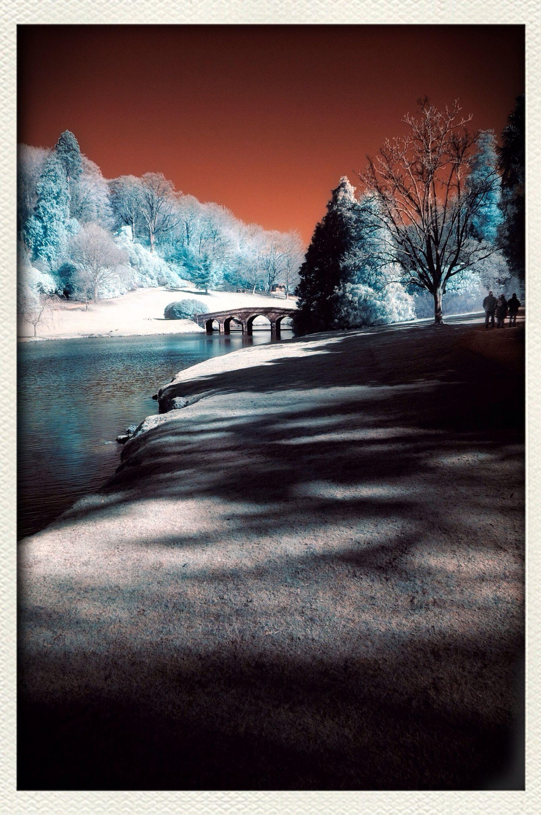 transfer print, auto post production filter, water, tranquil scene, tranquility, scenics, beauty in nature, clear sky, nature, sea, snow, winter, sky, cold temperature, beach, tree, mountain, idyllic, bare tree, non-urban scene