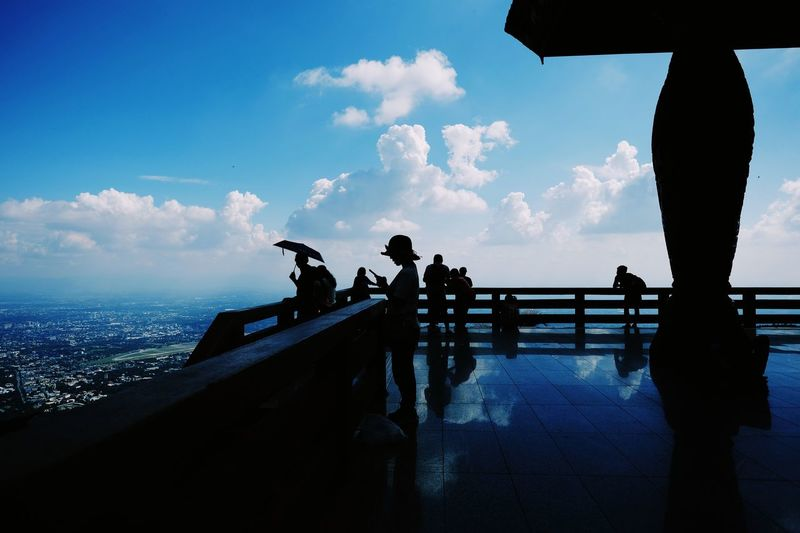 Sea Sky Horizon Over Water Men Cloud - Sky Leisure Activity Silhouette Water Nature Day Lifestyles Women Real People Outdoors Standing Beauty In Nature Scenics Friendship People Wat Phra That Doi Suthep