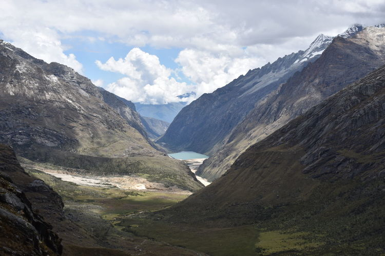 Hiking Glacier Huaraz Peru Santa Cruz Lagoon Mountain Mountain Range Beauty In Nature Landscape Scenics - Nature Environment Cloud - Sky Sky Valley Nature No People Day Water Tranquility Tranquil Scene Physical Geography Outdoors