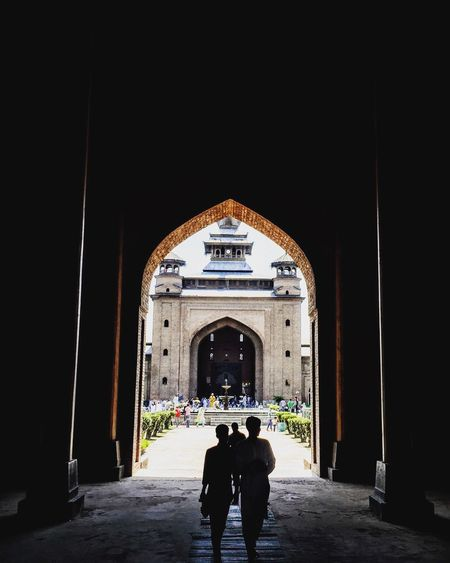 Mosque seen through archway