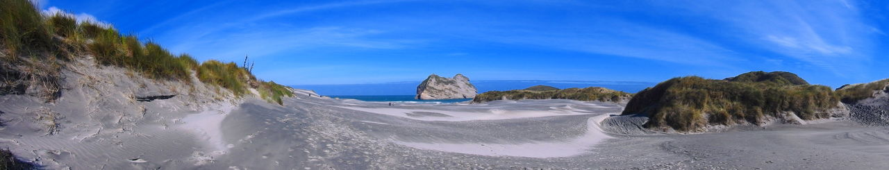 Beach Beauty In Nature Cloud - Sky Coastline Day Golden Bay Landscape Low Angle View Nature New Zealand Beauty New Zealand Impressions New Zealand Landscape New Zealand Scenery No People Outdoors Panorama Panoramic View Sand Sand Dune Sky Snow Travel Destinations Tree