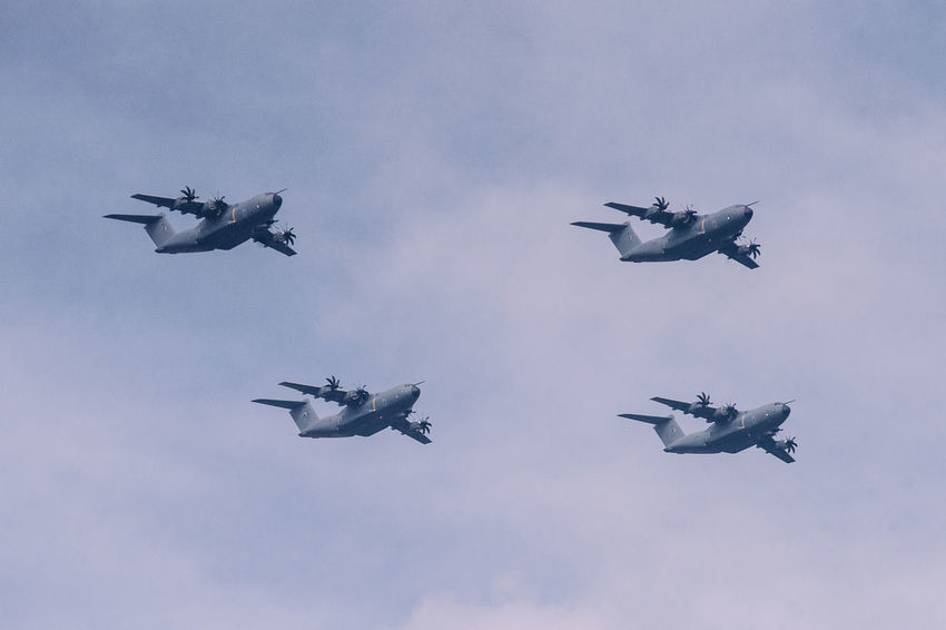 Kuala Lumpur A400M A400MAtlas Airbus Air Force Air Vehicle Airplane Airshow Camouflage Clothing Day Fighter Plane Flying Formation Flying Low Angle View Mid-air Military Military Airplane Nature No People Outdoors Sky Speed Teamwork Transportation The Week On EyeEm