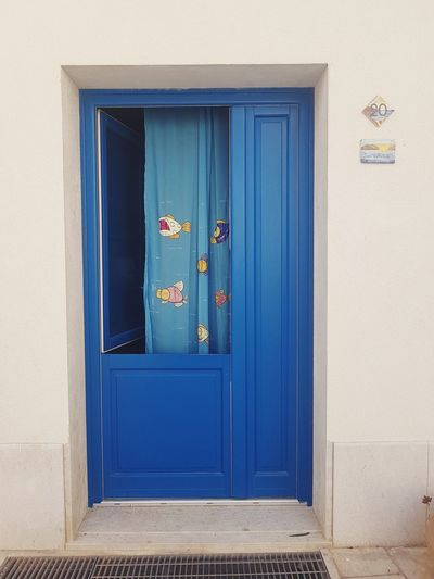 Blue Summer Streetphotography Walking Around Decorations Blue Doorway Wood - Material Façade Door Entrance Window Closed Front Door Architecture Entryway Entry