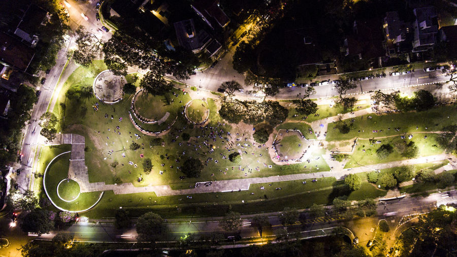 Aerial View Architecture Building Exterior Built Structure City Cityscape Illuminated Night No People Outdoors Panoramic Planet Earth Satellite View Tree Water