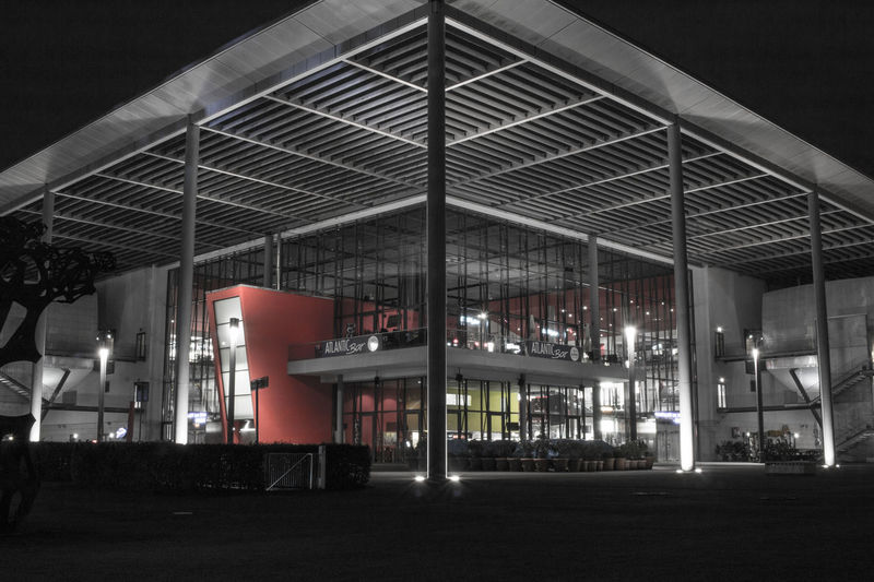 German Cinema at night Architecture Building Exterior Built Structure Illuminated Indoors  Lighting Equipment Modern Monochrome Monochrome Photography Night No People Reduced Colors Zkm Filmpalast HUAWEI Photo Award: After Dark