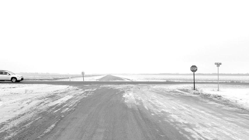 January 6, 2016 QVHoughPhoto FujiFilmX100 Moorhead Minnesota Winter Snow Landscape Car Road Blackandwhite
