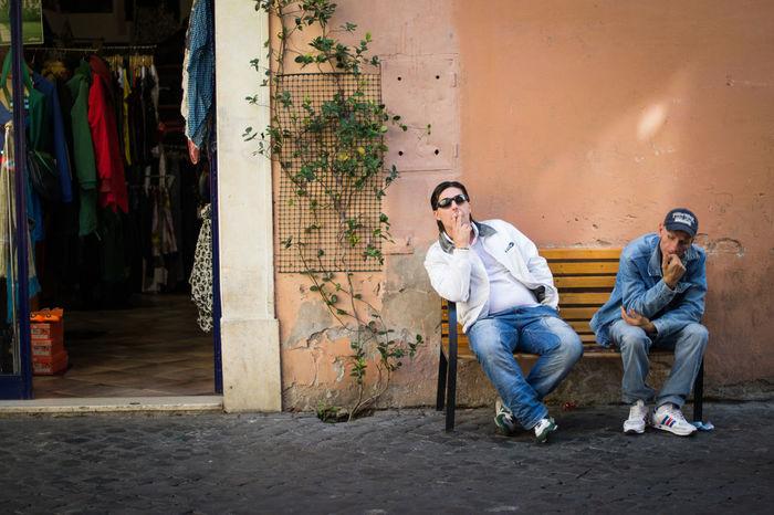 Outdoors Sitting Smoking Strangers