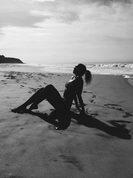 Blackandwhite Model Photography Beach Ocean