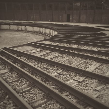 Railway Turntable Tracks Circular Trains Tracks Train Tracks Turn Around Rotate Rotation Rail Railroad Bygone Era Bygone Times Bygone Days No People Nobody