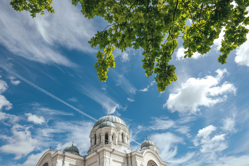 Church in Kaunas, Lithuania Architecture Church Lietuva Nikon D750 Sky And Clouds Architecture Cloud - Sky Day Detail History Low Angle View No People Outdoors Religion Sky Soboras Spirituality Statue Tree