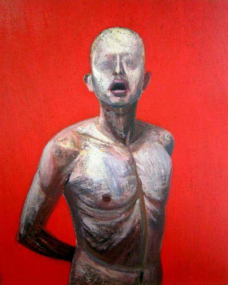 '' Slave '' Oil on canvas 2010, 35.8 × 28.6in. http://daisukeujuan.jimdo.com, Daisuke Ujuan Art Japanese Artist Oil Painting Daisuke Ujuan Canvas Expressionism Self Portrait