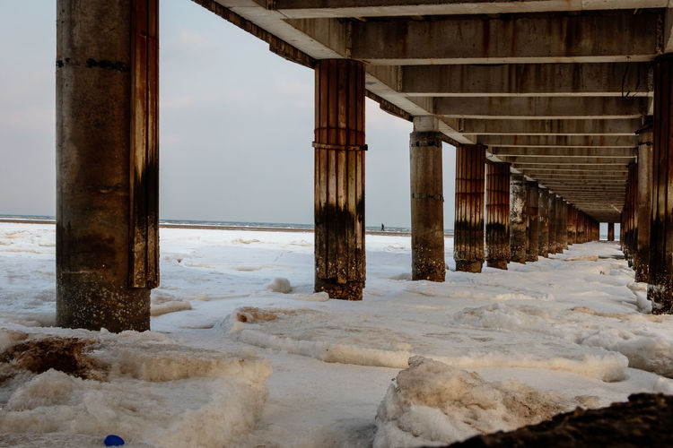 Frozen Hebei Ice Seashore Winter Architecture Beach Beidaihe Built Structure China Cold Temperature Connection Day Nature No People Outdoors Qinhuangdao Sea Seascape Seaside Sky Snow Underneath Water