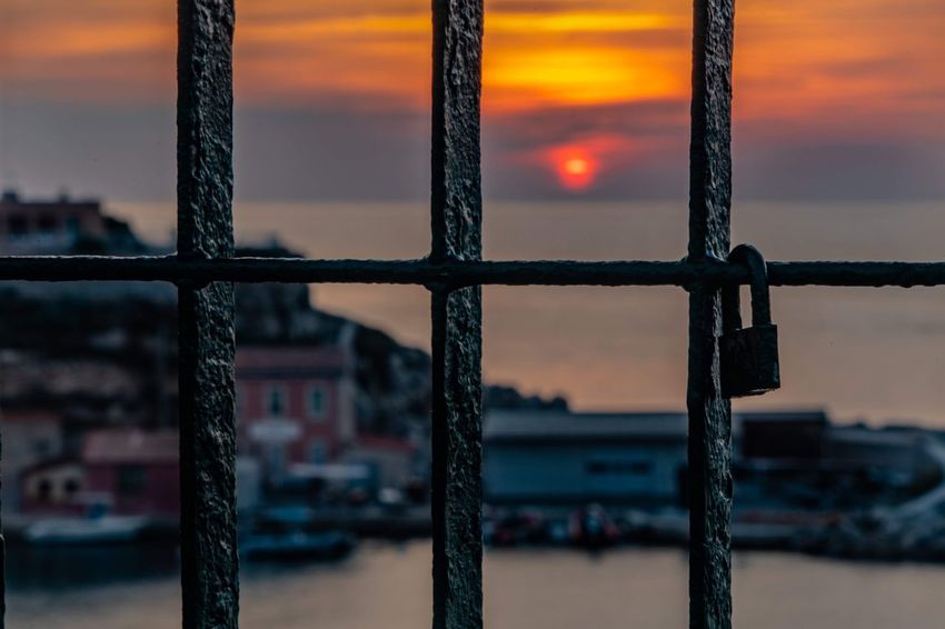 Lock of sunset Focus On Foreground Metal No People Close-up Sky Window Sunset Security Nature Full Frame Barrier Fence Dusk Built Structure Outdoors