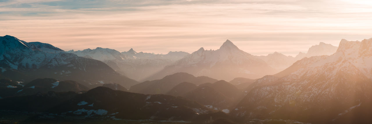 View above the Alps from mountain Gaisberg in Salzburg Austria Holidays Panorama Silhouette Travel Vacations View Watzmann Winter Alps Berchtesgaden Destination Europe Gaisberg Germany Landscape Mist Mountain Mountain Range Nature Outdoors Salzburg Scenery Sundown Sunset The Great Outdoors - 2018 EyeEm Awards