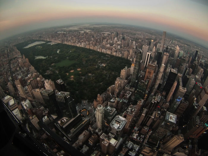 Aerial View Of Central Park And Cityscape Against Sky During Sunset