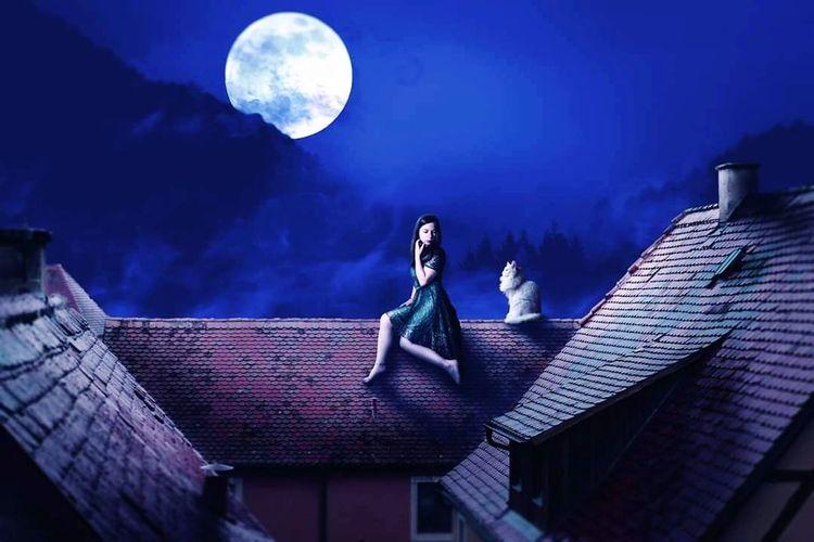 Modèle Photos Modele Girl Digital Art Studio Photography ArtWork Photocomposition Photoshopmanipulation Blendingphotos Wonderland Astronomy Halloween Space Moon City Moonlight Blue Witch Spooky Full Moon Half Moon