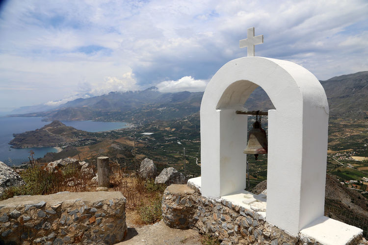 Timeos Stavros peak, small chapel on the top of a mountain, Plakias, Crete Architecture History Building Exterior Cross Simple Chapel Crete Island Timeos Stavros Crete Greece Spirituality Low Angle View Religion Whitewashed Place Of Worship Day Chapel Tree Crete
