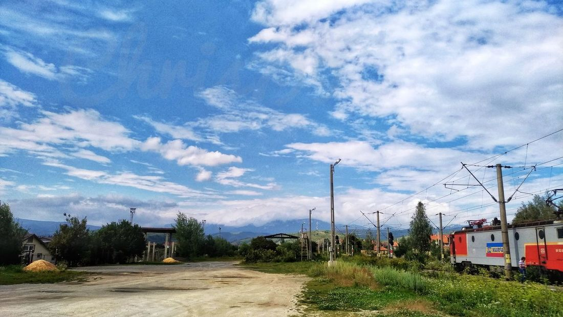 Blue Sky And Clouds Light And Shadow Clouds And Sky Train Train Tracks Trains Tree Sky Cloud - Sky Grass Power Line  Electricity Tower Railway Station Platform Train Track Railway Track Cable Electricity  Track Electric Pole