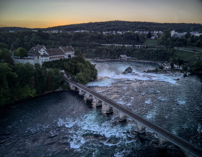 Drone  Rheinfall Beauty In Nature Bridge - Man Made Structure Dji Dronephotography Droneshot Mavic Pro Nature No People Outdoors River Sunset Switzerland Tranquility View From Above Water