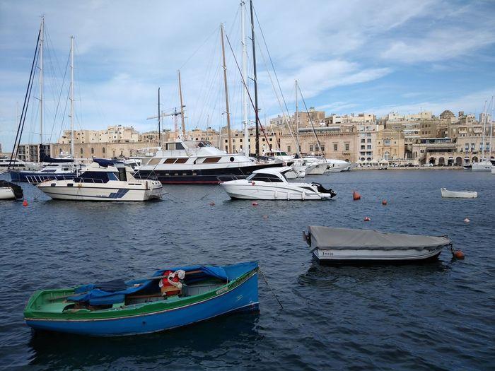 Malta Senglea Mediterranean  Mediterranean Sea Nautical Vessel Water Transportation Mode Of Transportation Architecture Building Exterior Built Structure Sky Cloud - Sky Nature Sailboat No People Moored Sea Outdoors Day