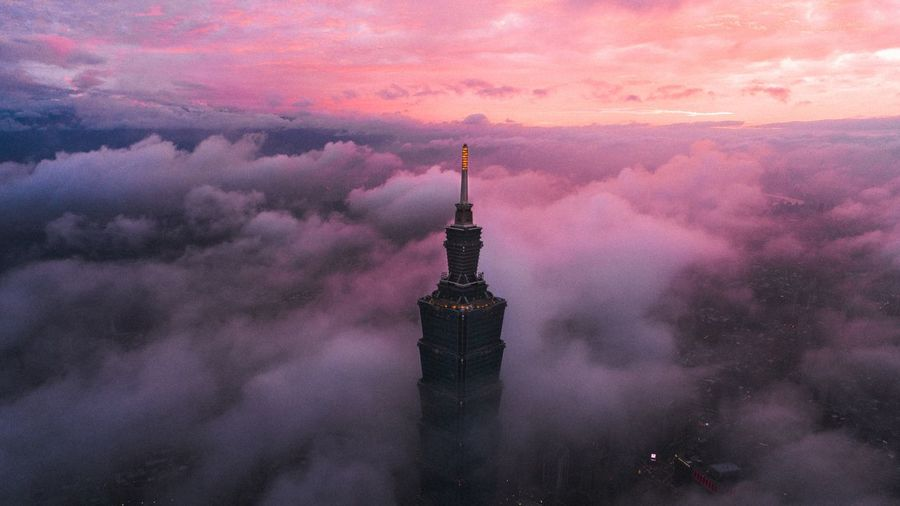 Architecture Sky Built Structure Building Exterior Cloud - Sky Purple Travel Destinations Pink Color Sunset City Tower Building No People Dramatic Sky Dusk Nature Silhouette Tall - High Spire  Romantic Sky