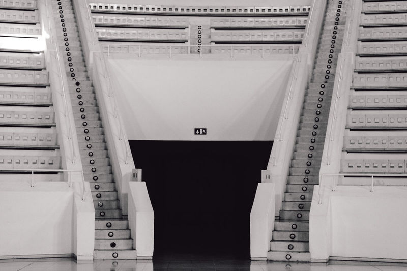 Indoors  No People Architecture Built Structure Day Locker Room Taking Photos Photography Black And White Catalunya Barcelona Symmetry Theater Anphitheater Full Length Pattern No People, Rear View Welcome To Black The Architect - 2017 EyeEm Awards