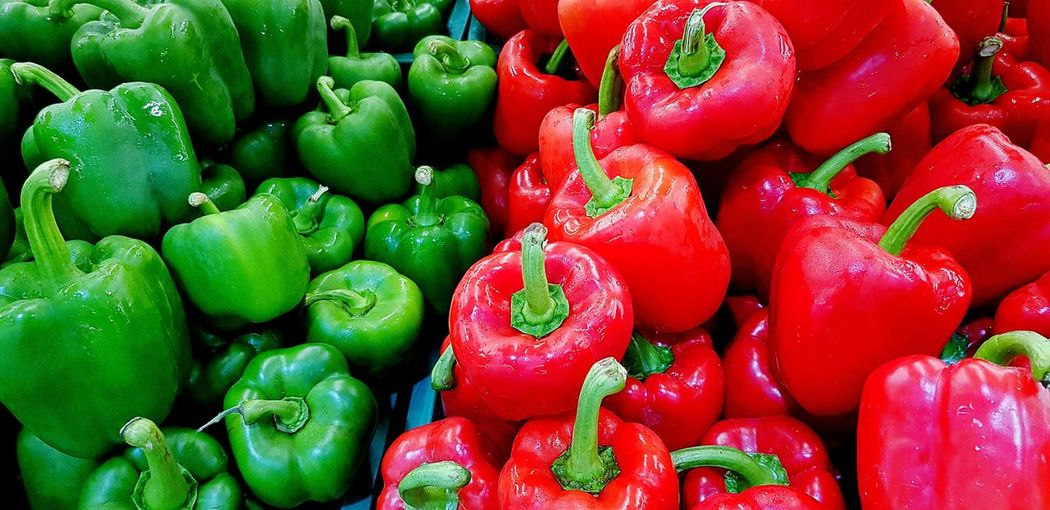 Full frame shot of bell peppers for sale in market