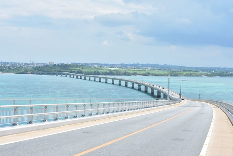 Road Water Sea Day Sky Transportation Railing The Way Forward Outdoors Cloud - Sky No People Nature Scenics Miyakojima Japan Okinawa MiyakoIsland Irabu Ohashi Bridge Irabu Ohashi